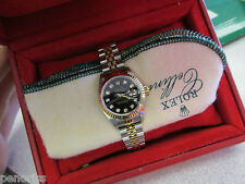18k Gold  & Stainless Steel Woman's Rolex Date  Watch Factory Diamonds Papers