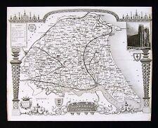 c. 1850 Thomas Moule Map - Yorkshire County East Riding York Kingston England UK