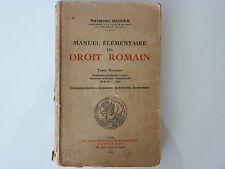 MANUEL ÉLÉMENTAIRE DE DROIT ROMAIN / RAYMOND MONIER / TOME 1 / 1935
