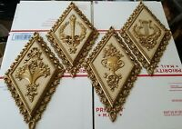 Vintage 1971 Home Interiors Gold Diamond Shaped Wall Plaques 7224 7225 7226 7227