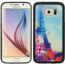 For Samsung Galaxy S6 - HARD TPU RUBBER CASE COVER PINK BLUE PARIS EIFFEL TOWER