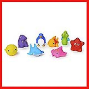 Munchkin Floating Ocean Animal Themed Rubber Bath Squirt Toys for Baby - Pack of