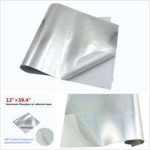 Car Exhaust Engine Hood Heat Shield Barrier Aluminum-Fiberglass w/Adhesive Layer