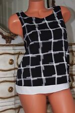 Debenhams black & white check pattern layered blouse top size 12