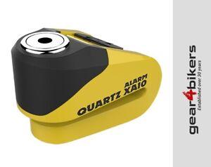Oxford Quartz XA10 Alarm Disc Lock & Cable Yellow Motorcycle Scooter XA 10