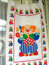 Vintage Childs Quilted Wall Art Nursery Colorful Clowns