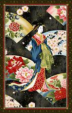 JAPANESE KONA BAY NOBU FUJIYAMA GEISHA FAN METALLIC GOLD PNL COTTON FABRIC