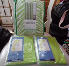 Lime Green Zebra shower curtain and 2 matching curtains - New