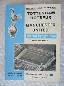 1969 Tottenham Hotspur v Manchester United, 9th Oct (League Division One)