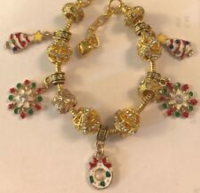 ❤️European GOLD PL. CHARM BEADS CHRISTMAS BRACELET 🎄 w/ Gold Plated Chain  #5❤️