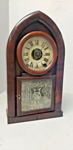 ANTIQUE TERRY & ANDREWS LYRE MOVT 8 DAY BEEHIVE CLOCK