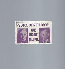 """1940 WILLKIE & McNARY """"VOICE OF AMERICA"""" JUGATE PICTURE CAMPAIGN STAMP"""