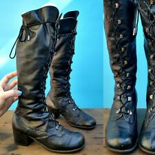 Antique Black Leather Lace Up Womens Boots Victorian Style 70s Italy Fitted Vtg