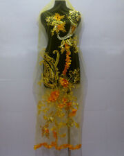 1 Piece Embroidery Tulle Sequins Crystal Chiffon Flower Lace Fabric Yellow