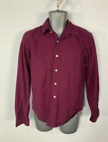 MENS GAP SIZE XS SMALL RED&BLUE CHECKED LONG SLEEVE CASUAL CREW NECK SHIRT TOP