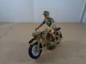 Britains no.9694 WW2 German Afrika Korp Motorcycle & Rider , 1:32 Scale Vintage