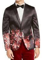 INC Mens Blazer Red Black Size Small S Slim Fit Floral Satin Two Button $149 284
