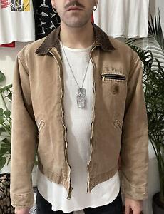 Carhartt Tan Brown J97 Duckcloth Sandstone Detroit Blanket Lined Work Jacket L