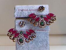 Antique Gold Earrings,Ear cuff,Ear jacket,Ear climbers,Emerald Ruby Ear Huggies