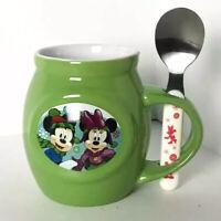 Disney Mickey Minnie Mouse Green Mug Stirring Spoon Christmas Set