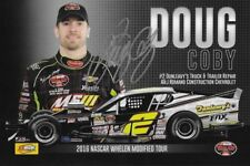 """SIGNED 2016 DOUG COBY """"DUNLEAVYS TRUCK REPAIR"""" #2 NASCAR OW MODIFIED POSTCARD"""