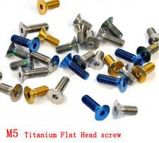 10pcs Titanium Alloy M5 X12/15/16/20/25mm Flat Head Bolts Countersunk Screws