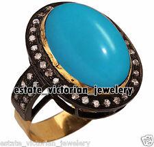 Turquoise Studded Silver Ring Jewellery Artdeco Estate 1.49Cts Rose Cut Diamond