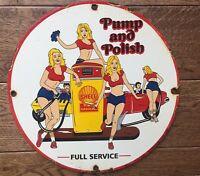 """Vintage Shell Gasoline 12"""" Heavy Pump Plate Sign Gas & Oil Sign"""