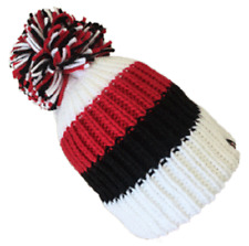 KARMA ACCESSORIES BIG BOBBLE HAT RED BLACK WHITE STRIPES ONE SIZE FITS ALL BH05