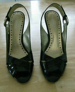 BCBG Black Patent Leather Sling Back Peep Toe Pumps Size 9B Excellent Condition