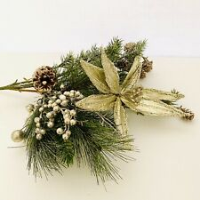 Lot of 3 Bush Gold & Green Poinsettia Faux Pine Christmas Holiday Silk Flower