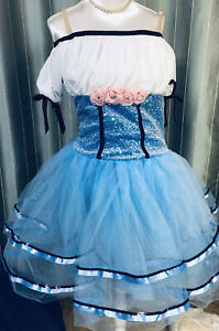 Dance Costume Dress Weissman Blue Sequin girls Size Large Child