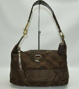 Coach Signature Stripe Brown Zip Hobo Shoulder Bag F18039
