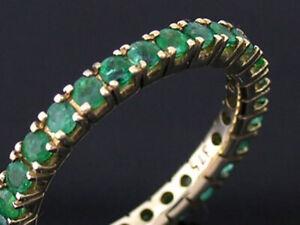 R122 Genuine 9K, 14K, 18K Gold Natural Emerald 1.00ct Full Eternity Wedding Ring