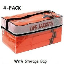Life Jackets Vest Preserver 4 Pack Type ll Adult Orange Jacket Boating Fishing