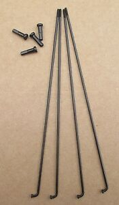 Bicycle Spokes 14g Stainless Steel Black with Nipples Various Sizes Sold by 4's