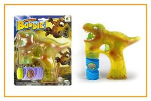 Light Up LED Dinosaur Bubble Gun with 2 Bottles of Bubbles and Batteries