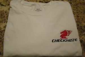 Checkmate Knight Boat Logo White w/Black & Red Size XL T-Shirt New Embroidered