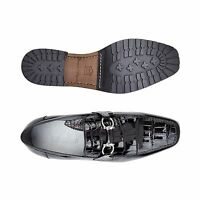 Belvedere Mens shoes Plato Black Genuine Alligator and Italian Calf Loafer 1022