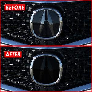 FOR 18-20 Acura TLX Front Emblem SMOKE Precut Vinyl Tint Overlay