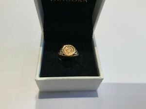 Small 9ct Yellow Gold St George & Dragon Coin Style Ring Size L+ Ladies Girls