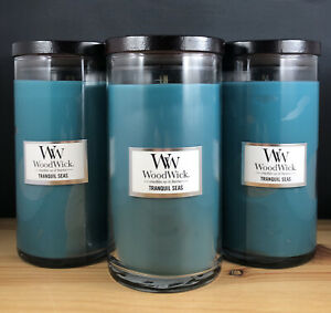 9.7 Oz WoodWick Trilogy Tropical Sunrise Medium Tamarind and Stonefruit Scented Crackling Wooden Wick Hourglass Candle in Clear Glass Jar Seaside Mimosa Blue Java Banana