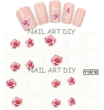 20 NAIL STICKERS WATER TRANSFER TATTOO ADESIVO ROSA CON RAMI BUY 3 GET 1 FREE!!!
