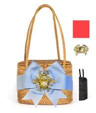 Bosom Buddy Savannah Bag in Black w/ Vivid Pink Bow & Gold Crab Charm, New