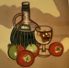 Wine Bottle Fruit Glass  Decorative Ceramic Wall Art Tile 8x8 New