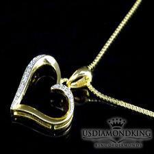 Mujer Lades Acabado Dorado Original Corazón de Diamante Colgante Cadena Collar