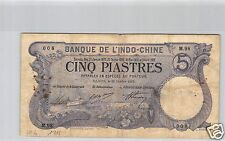 Bank- des'Indochina Saigon 5 Piaster 26 Oktober 1915 M.98 Nr. 008 Pick 37b