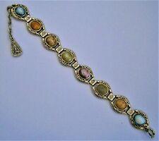 H951:) Vintage Celtic faux agate stone panel linked bracelet