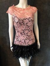 Worn Once-MC Berry Pink Feder & Spitze Kleid-UK 8-Schwarz & Pink