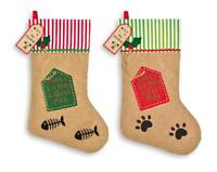 Plush Christmas Pet Stockings - Santa Pet Treats - I've Been A Good Dog Cat
